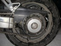 Rear wheel of VFR after 1,000 miles of hell